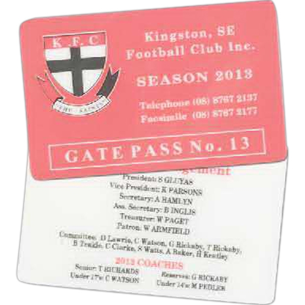 Imprinted Heavy Laminated Membership Card