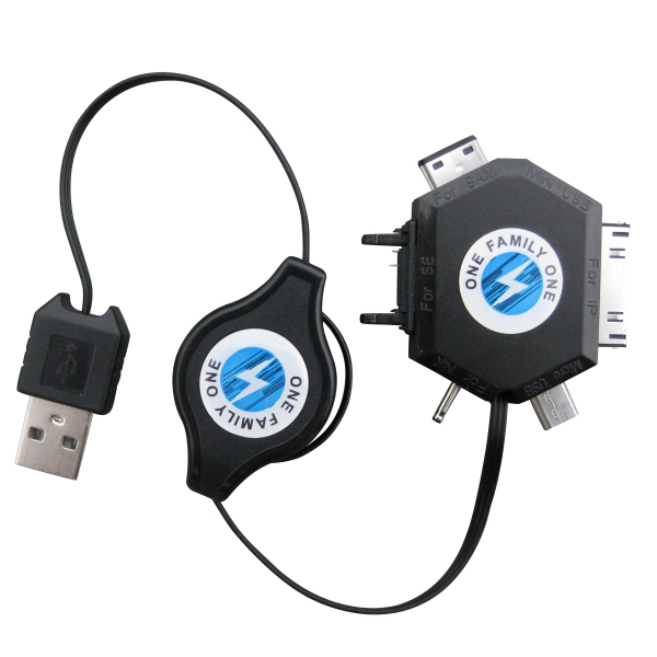 Imprinted 6 in 1 Retractable Multifunction USB Charging Cable for iPod