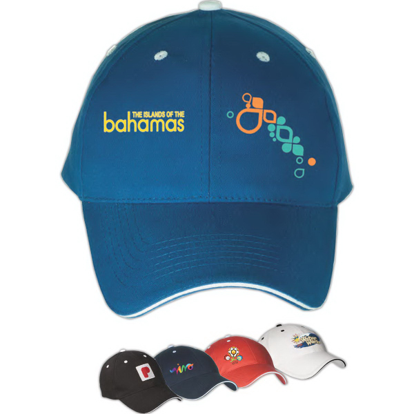 Personalized 6 Panel Structured Cap with Sandwich Visor