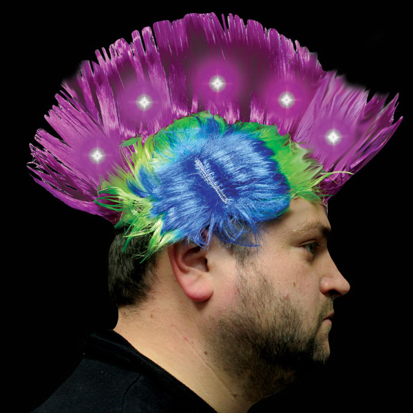 Custom Purple & Pink Light Up LED Mohawk Wig