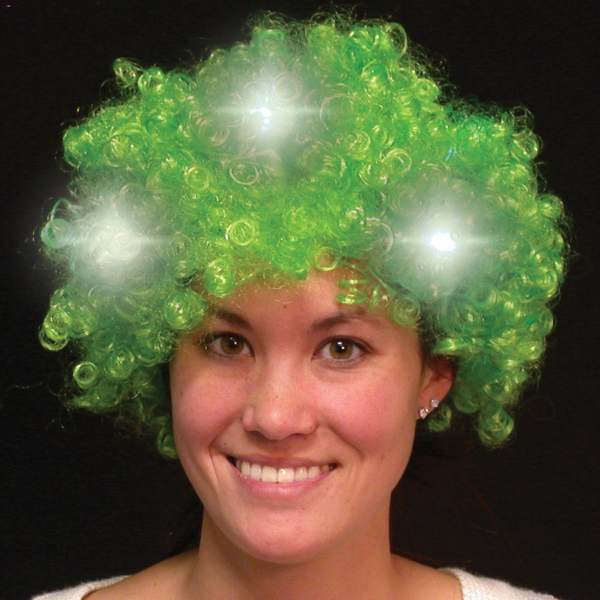 Imprinted Green Light Up LED Spirit Costume Wig