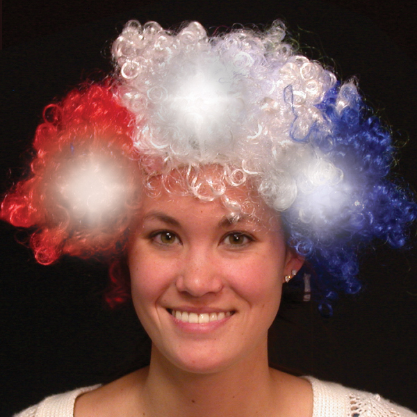 Promotional Red White & Blue Light Up LED Spirit Costume Wig
