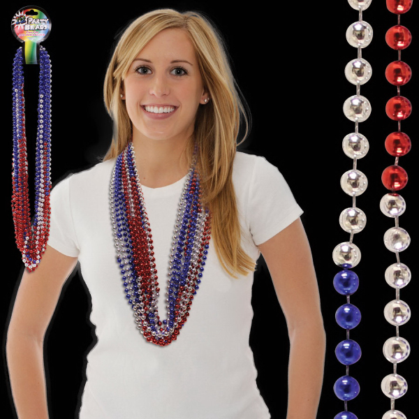 "Printed 36"" Red-Silver-Blue  (7mm) Bead Necklace"