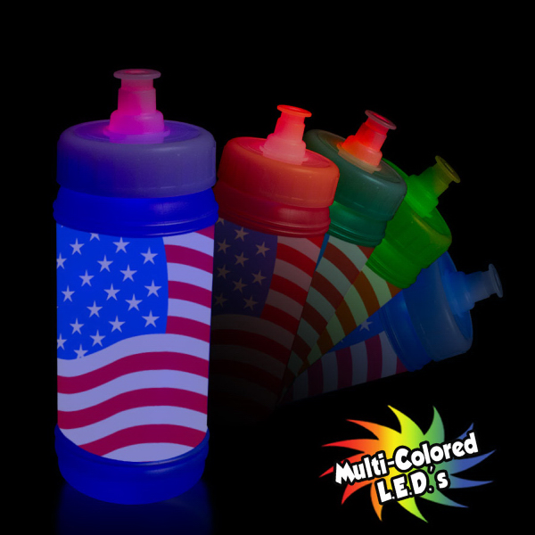 Custom American Flag Aqua-Lite Sports Bottle