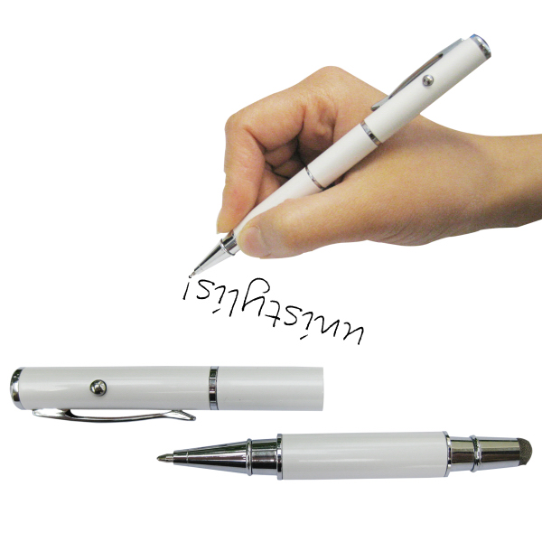 Personalized 3-in-1 Fiber Cloth Stylus w/Laser & Ballpoint Pen
