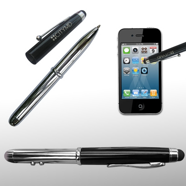 Imprinted 4-in-1 Stylus w/Laser, Flashlight & Ballpoint Pen