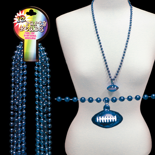 Personalized Blue Beaded Necklace with Football Pendant