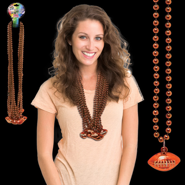 Custom Orange Beaded Necklace with Football Pendant