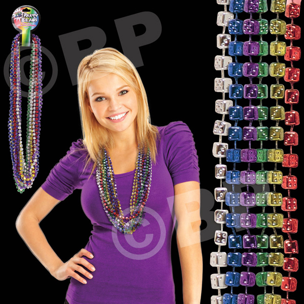 "Personalized 33"" Mardi Gras Dice Bead Necklace"