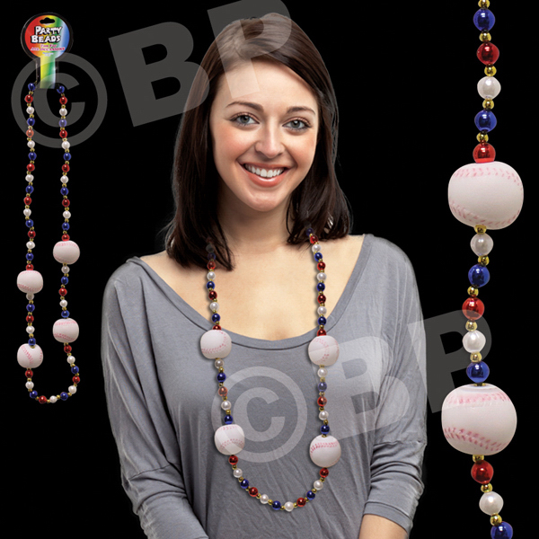 "Imprinted Baseball 42"" Bead Necklace"
