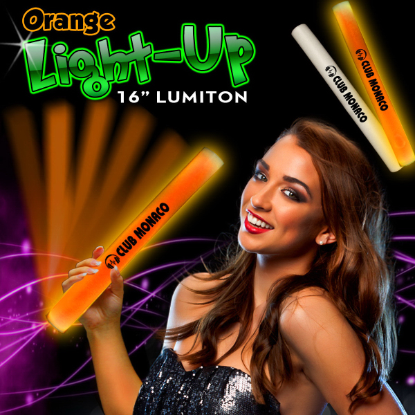"Printed 16"" Orange LED Light Up Foam Lumiton Baton"