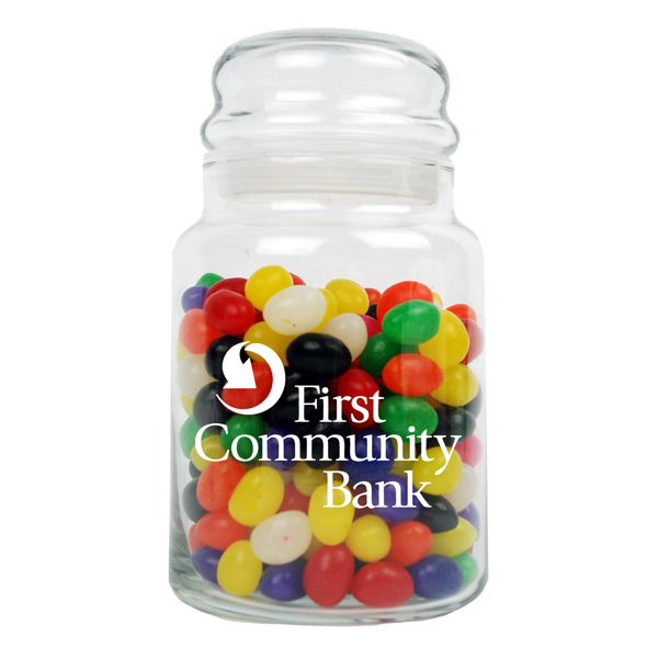 Promotional 26 oz Glass Candy Jar with Bubble Top Lid