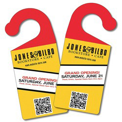 "Imprinted Plastic Door hanger, 3.75"" x 8.5""  UV coasted"