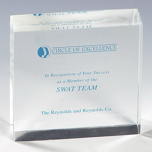 Promotional Genuine Lucite (R) Square Embedment