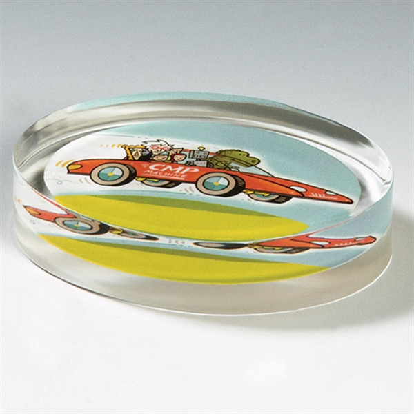 Imprinted Genuine Lucite (R) Horizontal Oval Embedment