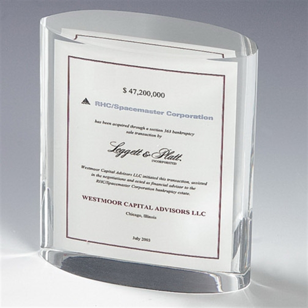 Imprinted Genuine Lucite (R) Vertical Oval Embedment