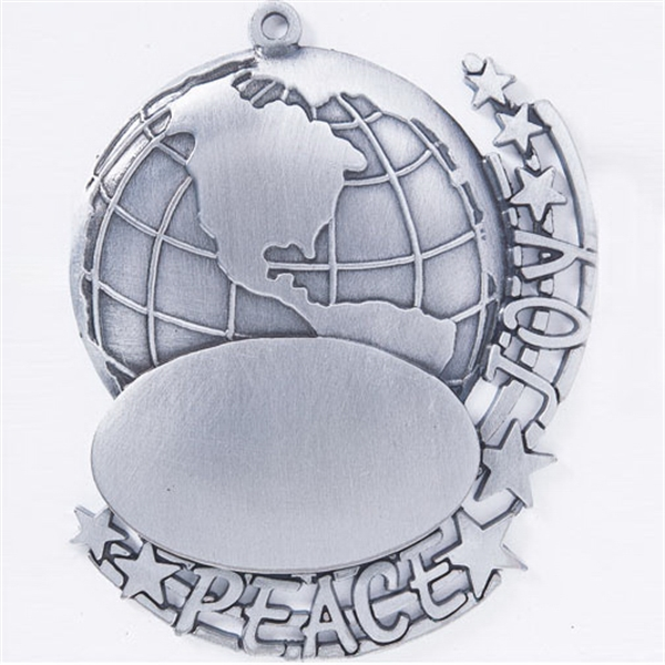 Personalized Stock Peace & Joy Ornament - Cast Relief
