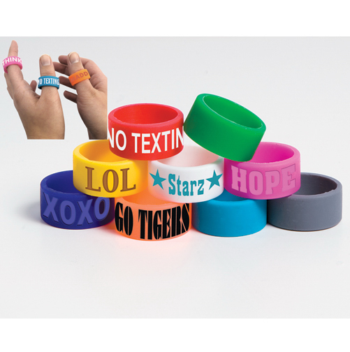 Imprinted Awareness Silicone Ring - Debossed