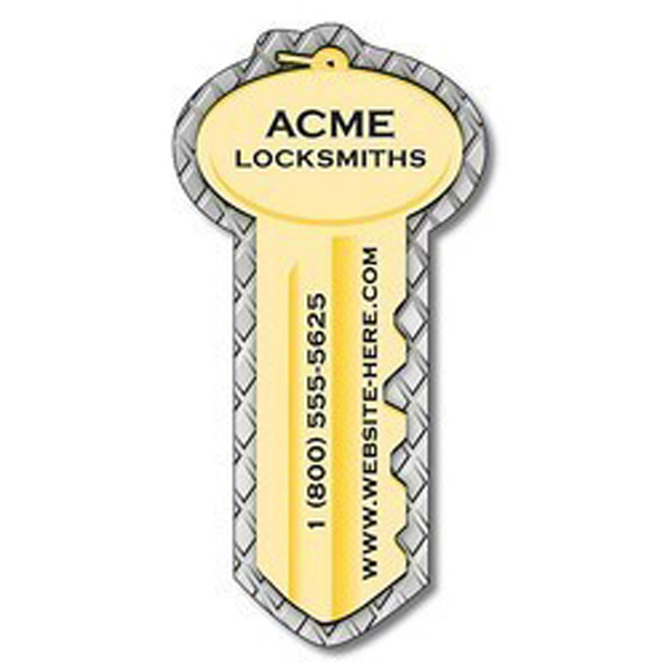 "Promotional Magnet, Key Shape, 3.5"" x 1.75"" - Outdoor Safe"