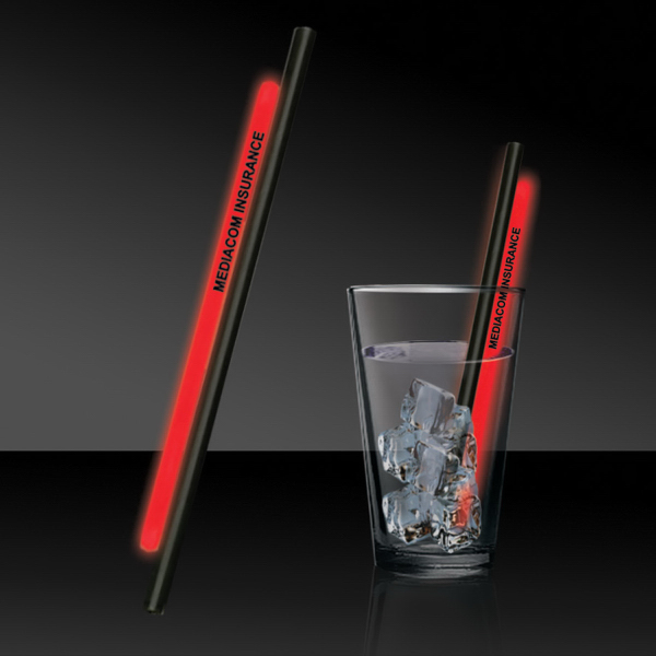 """Imprinted Red 5"""" Glow Straw"""