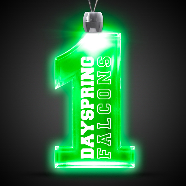 "Promotional Green 1"" #1 LED Light Up Pendants"