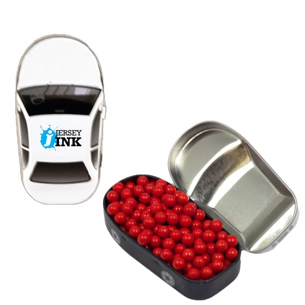 Printed Car Mint Tin with Colored Bullet Candy