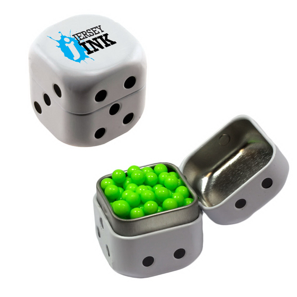 Personalized Dice Mint Tin with Colored Bullet Candy