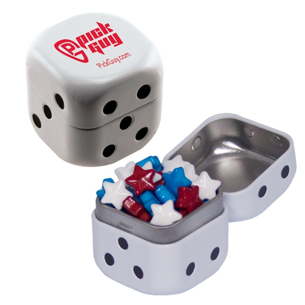 Personalized Dice Mint Tin with Candy Stars