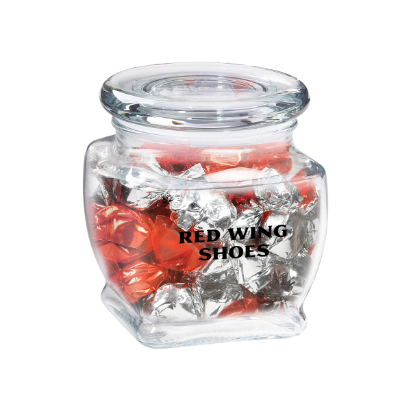 Personalized Footed Glass Jar / Foil wrapped hard candy