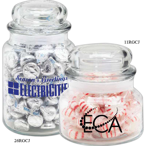 Printed Round Glass Jar / Foil Wrapped Hard Candy