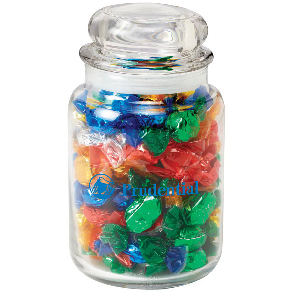 Personalized Round Glass Jar / Foil Wrapped Hard Candies