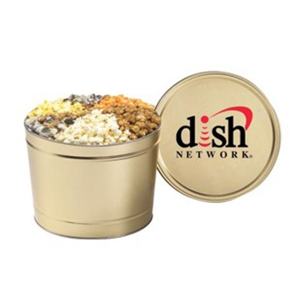 Custom 6 Way Deluxe Popcorn Sampler / 2 Gallon Tin