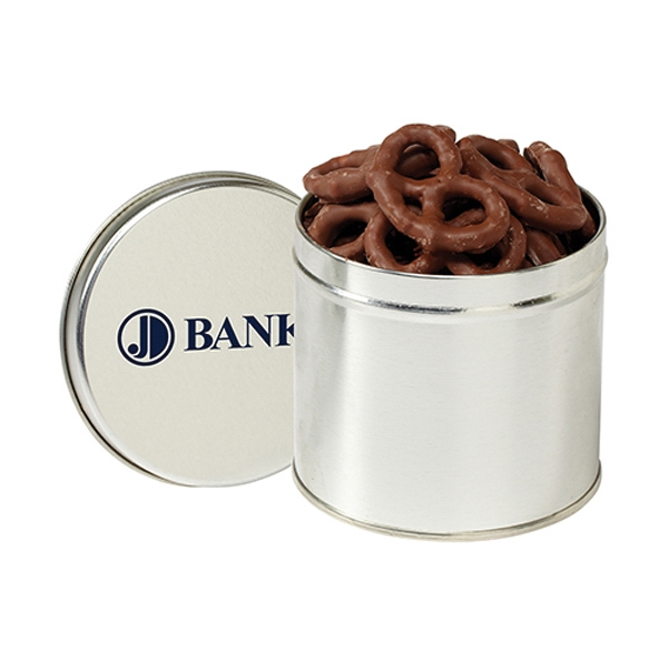 Imprinted Round 1/2 Quart Tin / Chocolate Covered Pretzels