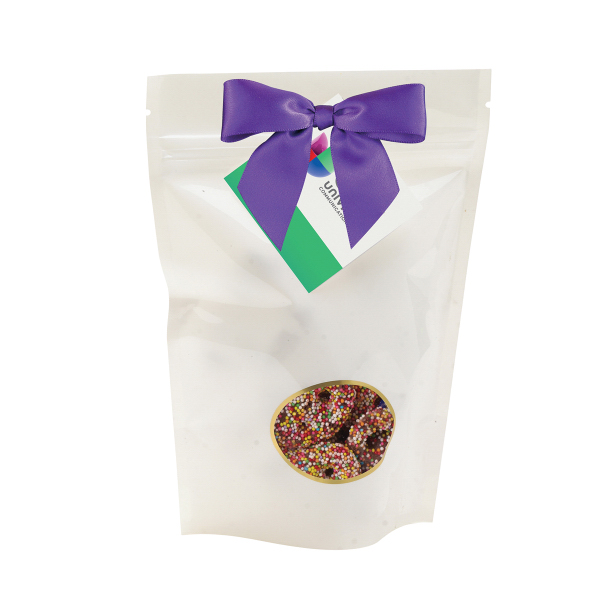 Custom Large Window Bag / Chocolate Covered Sprinkled Pretzels