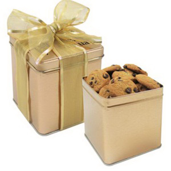 Imprinted Perfect Present Tin / Mini Chocolate Chip Cookies
