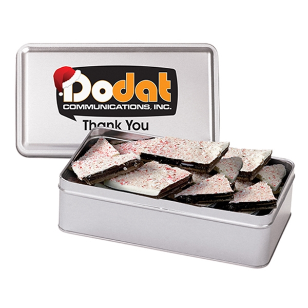 Personalized Large Rectangle Tin / Peppermint Bark