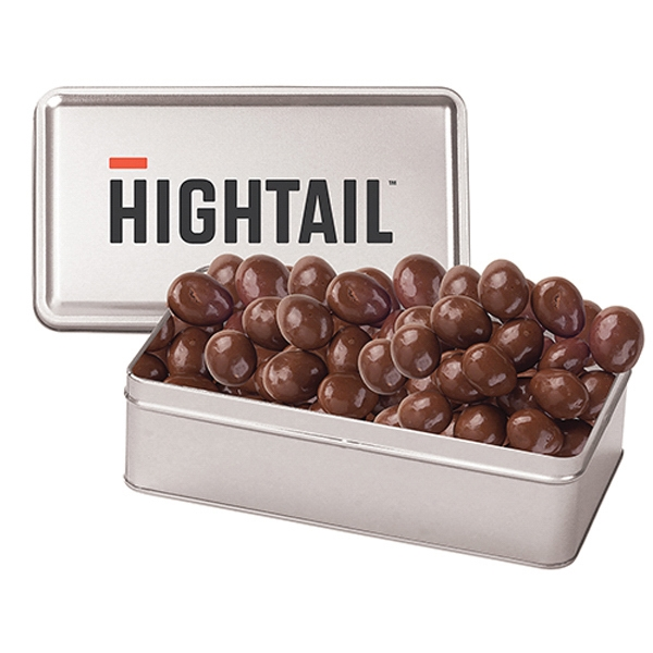 Promotional Large Rectangle Tin / Chocolate Almonds