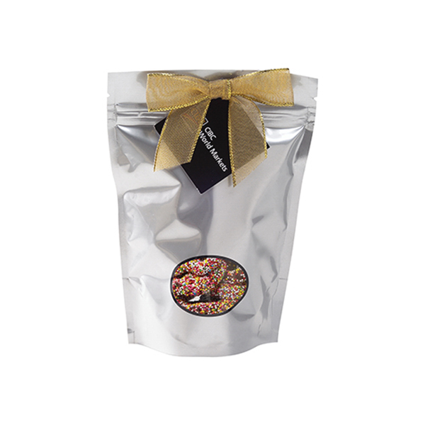Personalized Small Window Bag / Chocolate Covered Sprinkled Pretzels
