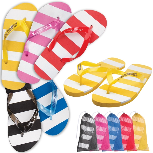 Custom Striped Adult flip flop