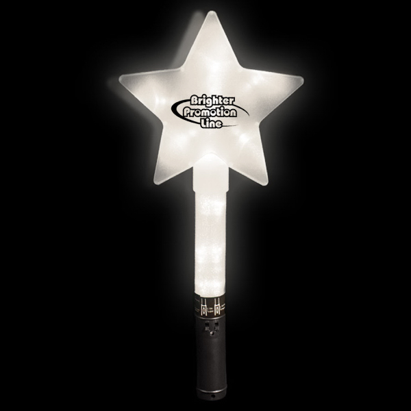 "Personalized Huge White 12"" Flashing LED Star Wand"
