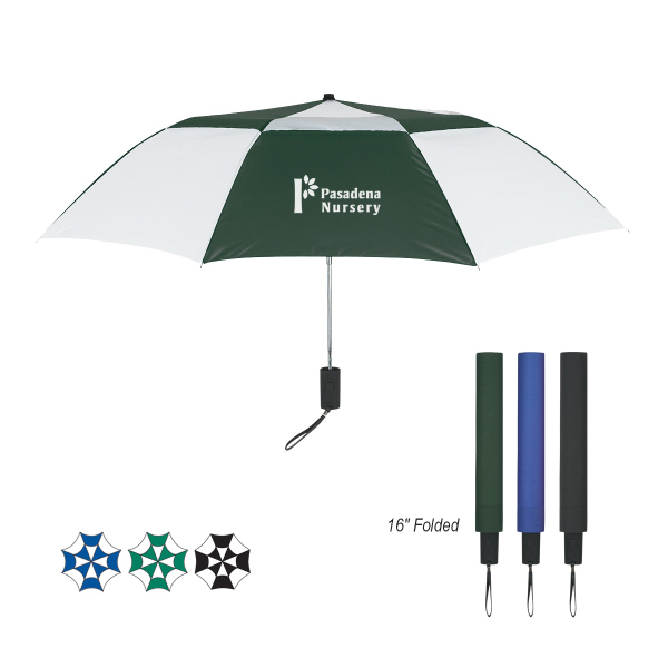 "Custom 44"" Arc Telescopic Folding Vented Umbrella"