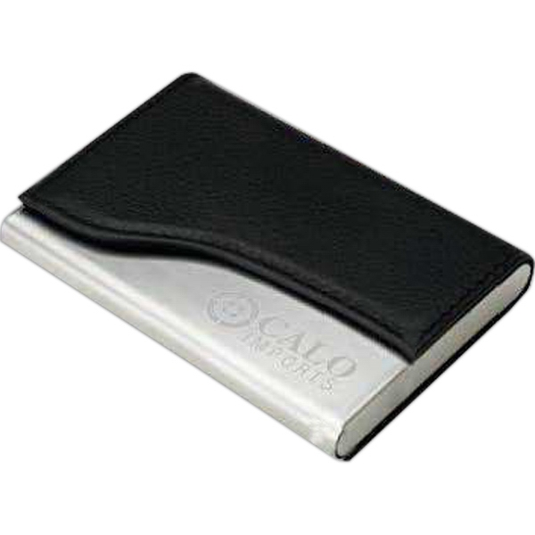 Promotional Metal and Leatherette Business Card Holder