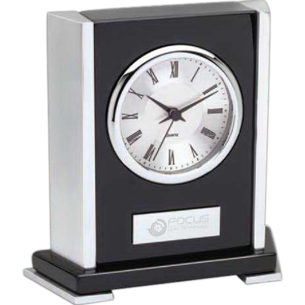 Custom Polished Wood Desk Clock