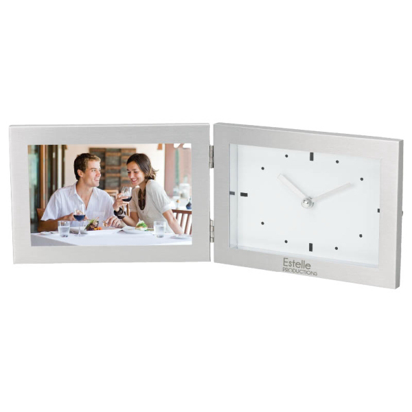 "Printed Hinged 6"" x 4"" Frame and Clock"