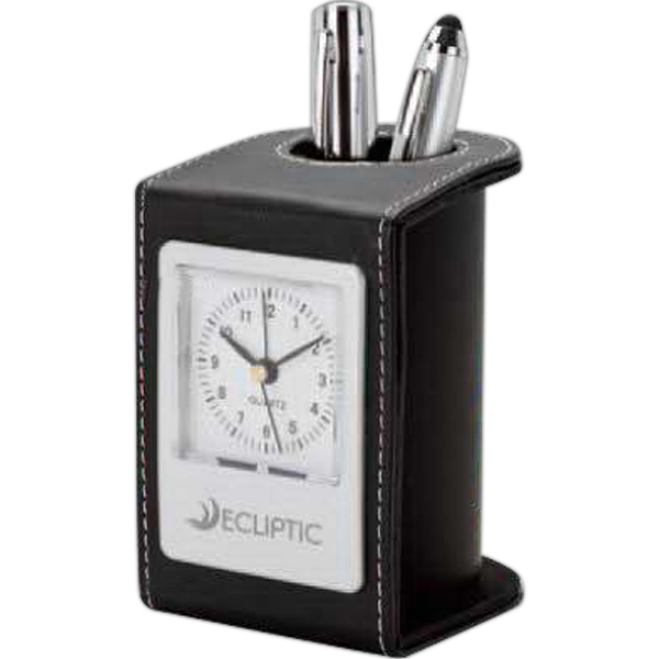 Imprinted Leatherette Pen Hold and Clock