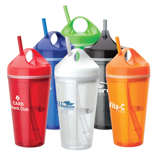 Personalized Acrylic Tumbler with Carry Handle and Straw