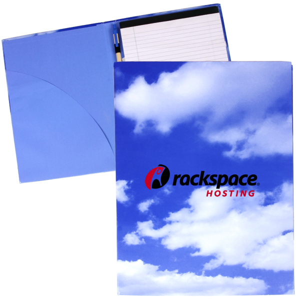 Customized Recycled Full Color Padfolio with Pen - Cloud/Tech Theme