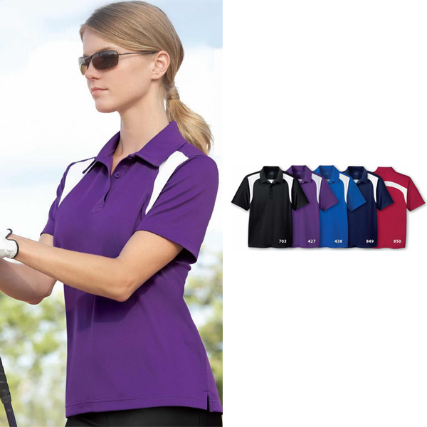 Customized Ladies'  Extreme Eperformance (TM) Color-Block Textured Polo