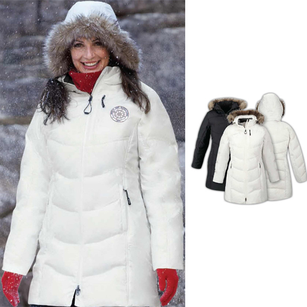 Personalized Ladies' Boreal North End (R) Down Jacket with Faux Fur Trim
