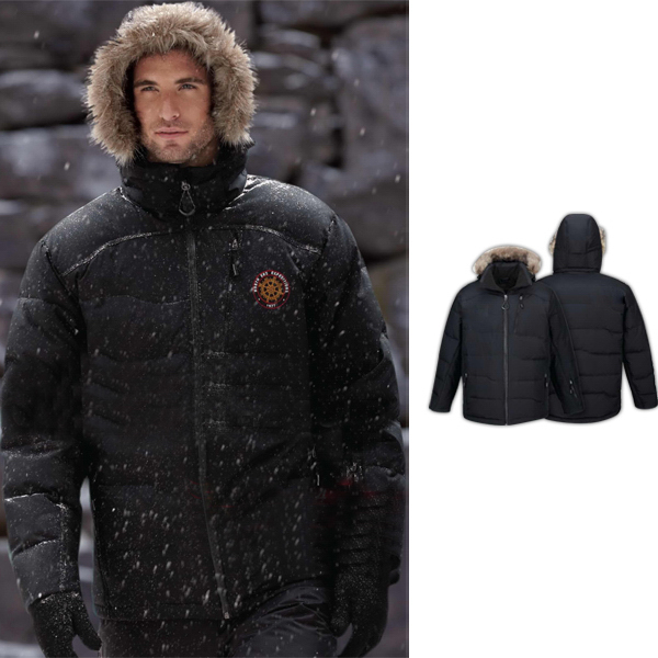Printed Men's Boreal North End (R) Down Jacket with Faux Fur Trim